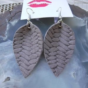 Chic Braided Gray Leather Leaf Earrings  Earthy